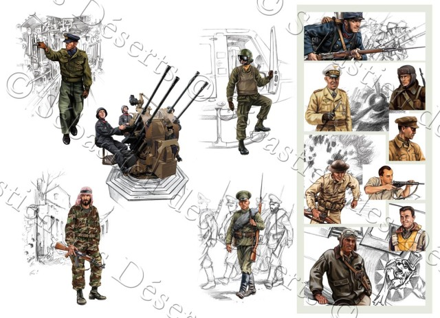 Illustration de la page « Les combattants » du fascicule accompagnant chaque DVD de la collection « Guerres et grandes batailles du XXe siècle »,pour Actium éditions et PolyGram collections.